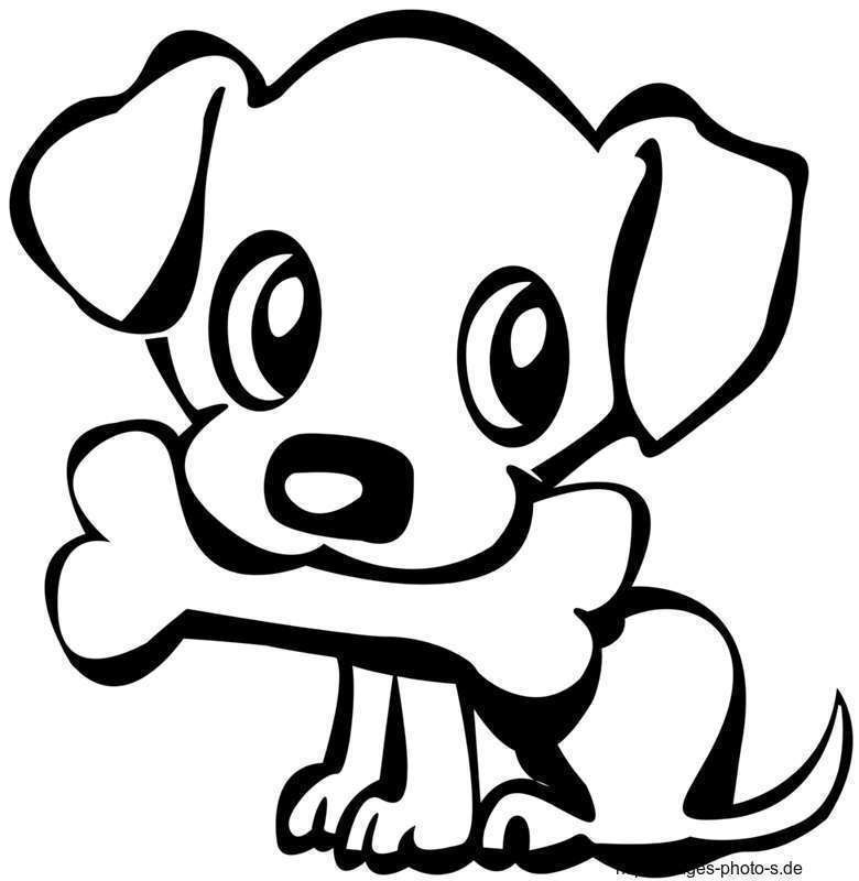 hund mit knochen im mund malvorlage  tiersilhouette