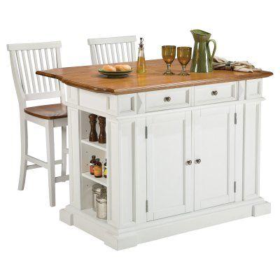 Home Styles White and Oak Finish Large Kitchen Island - 5002-94
