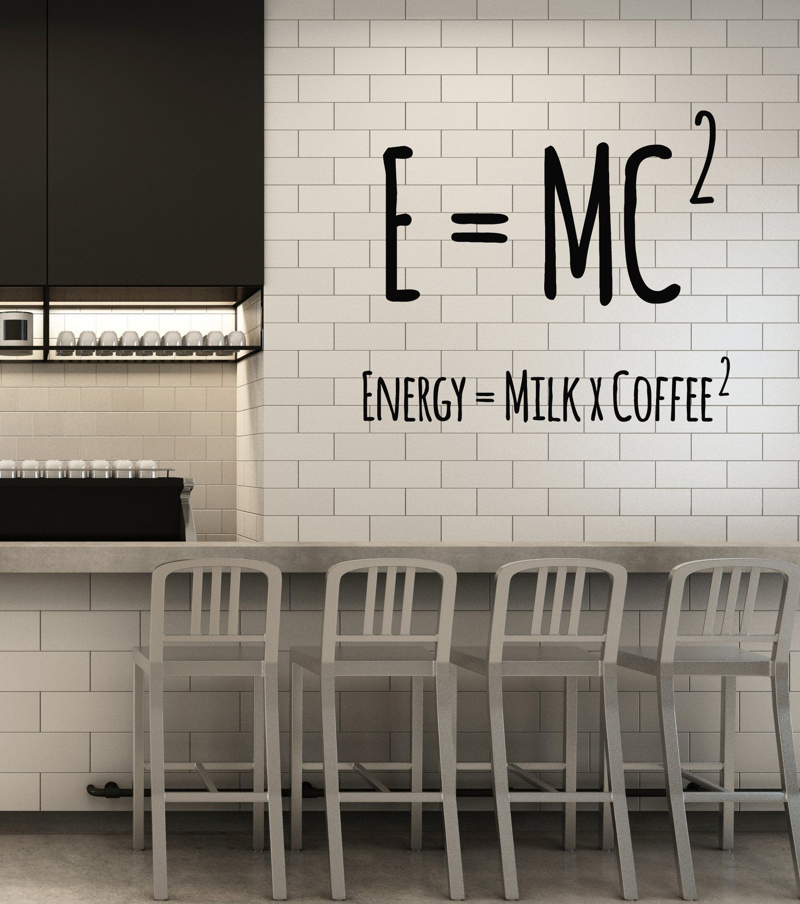 Vinyl wall decal coffee lover physical formula funny cafe art decor