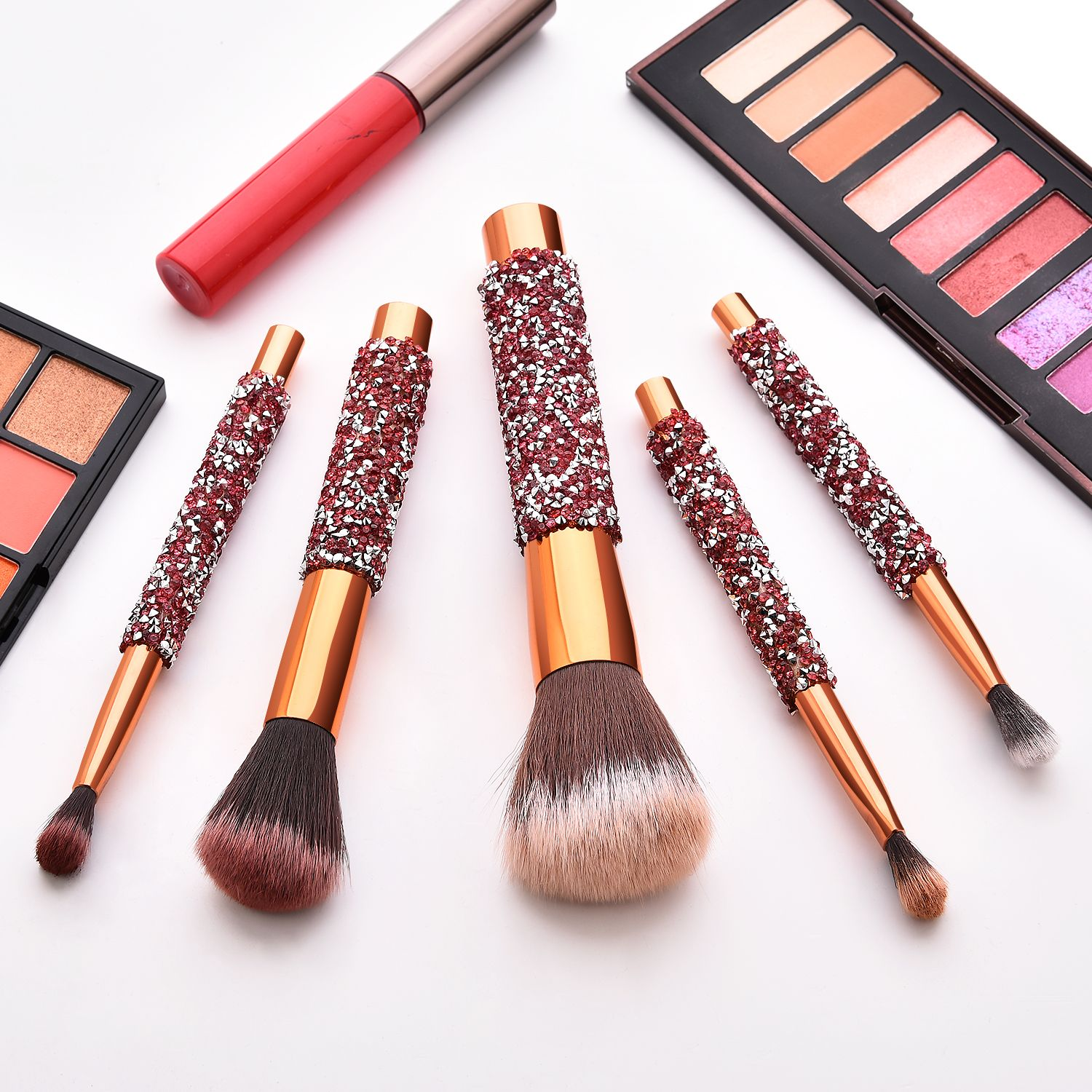 Blinged makeup brushes set available wholesale Small