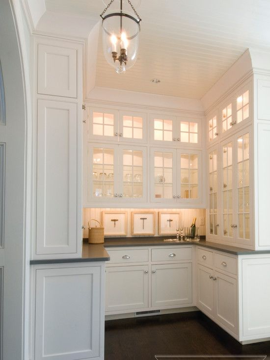 Fabulous U Shaped Butlers Pantry With Ceiling Height White Cabinetry And  Granite Countertops.