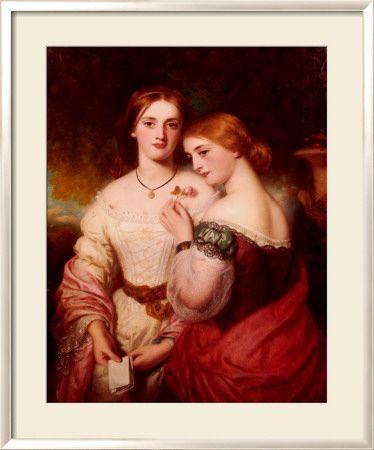 Two Victorian Beauties Impressão em tela emoldurada