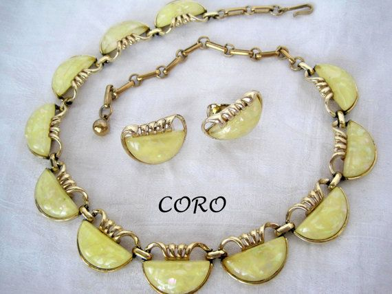 Vintage Signed Coro Lemon Yellow Lucite by VintagObsessions, $35.00