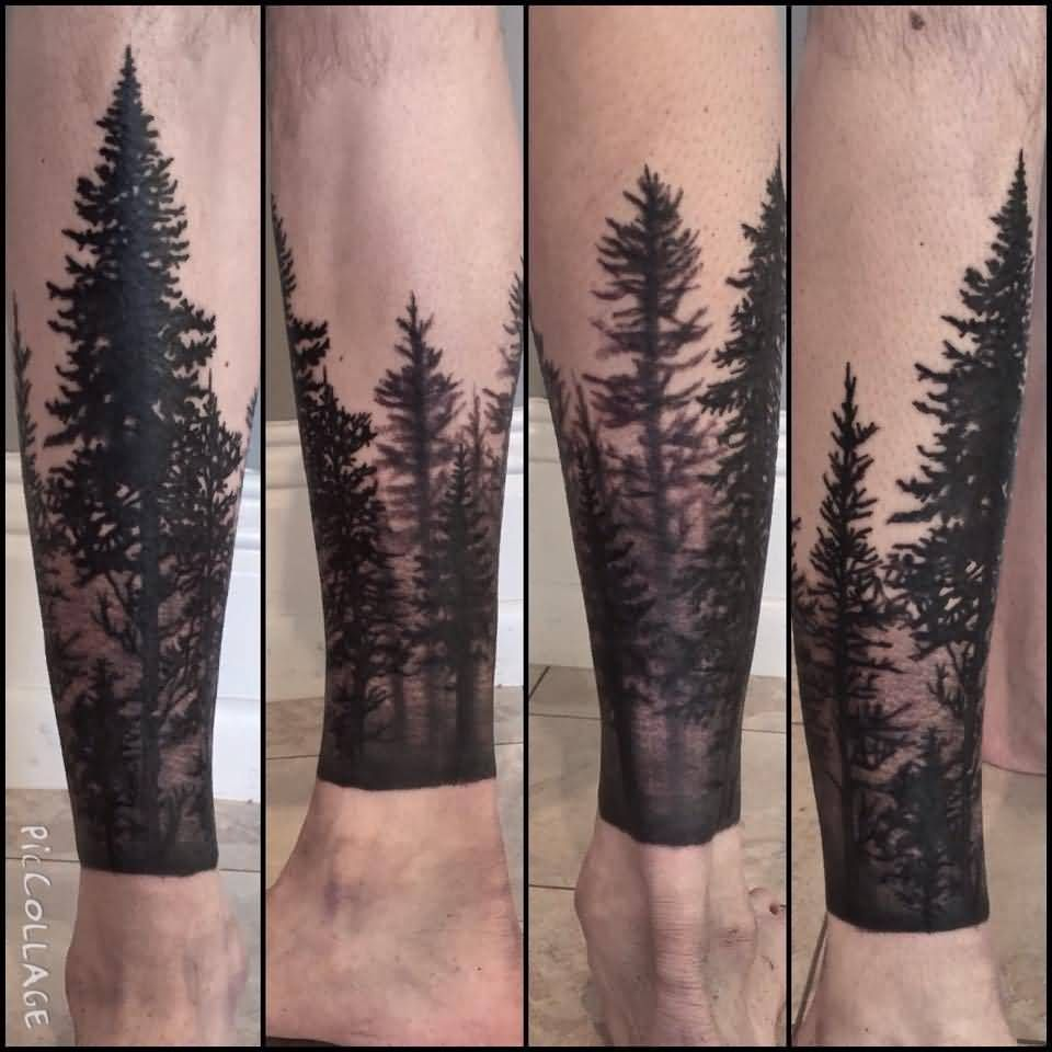 Lower leg guys traditional sleeve tattoos - Guy Sleeve Tattoos Forest Tattoo On Leg