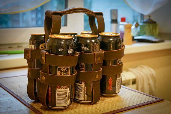 Leather Bottle Holder Beer Carrier Drink Holder Sixpack Tote Can Holder Beer Lover Gift Holder Groomsmen Gift Beer Caddy Beer Gifts Gifts For Beer Lovers Beer Gifts Groomsman Gifts Beer