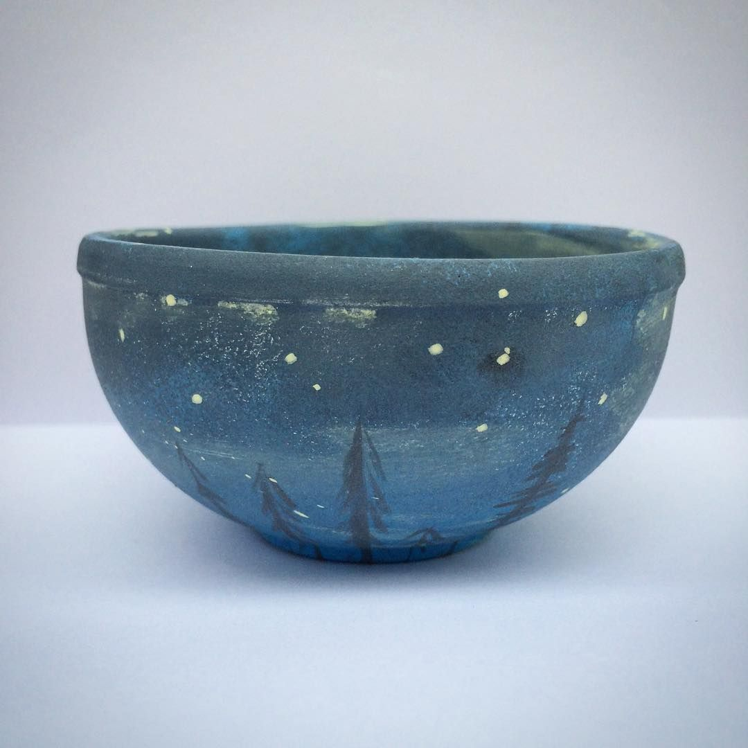 This little dish is heading for the kiln.  stars, nature, night sky, horizon
