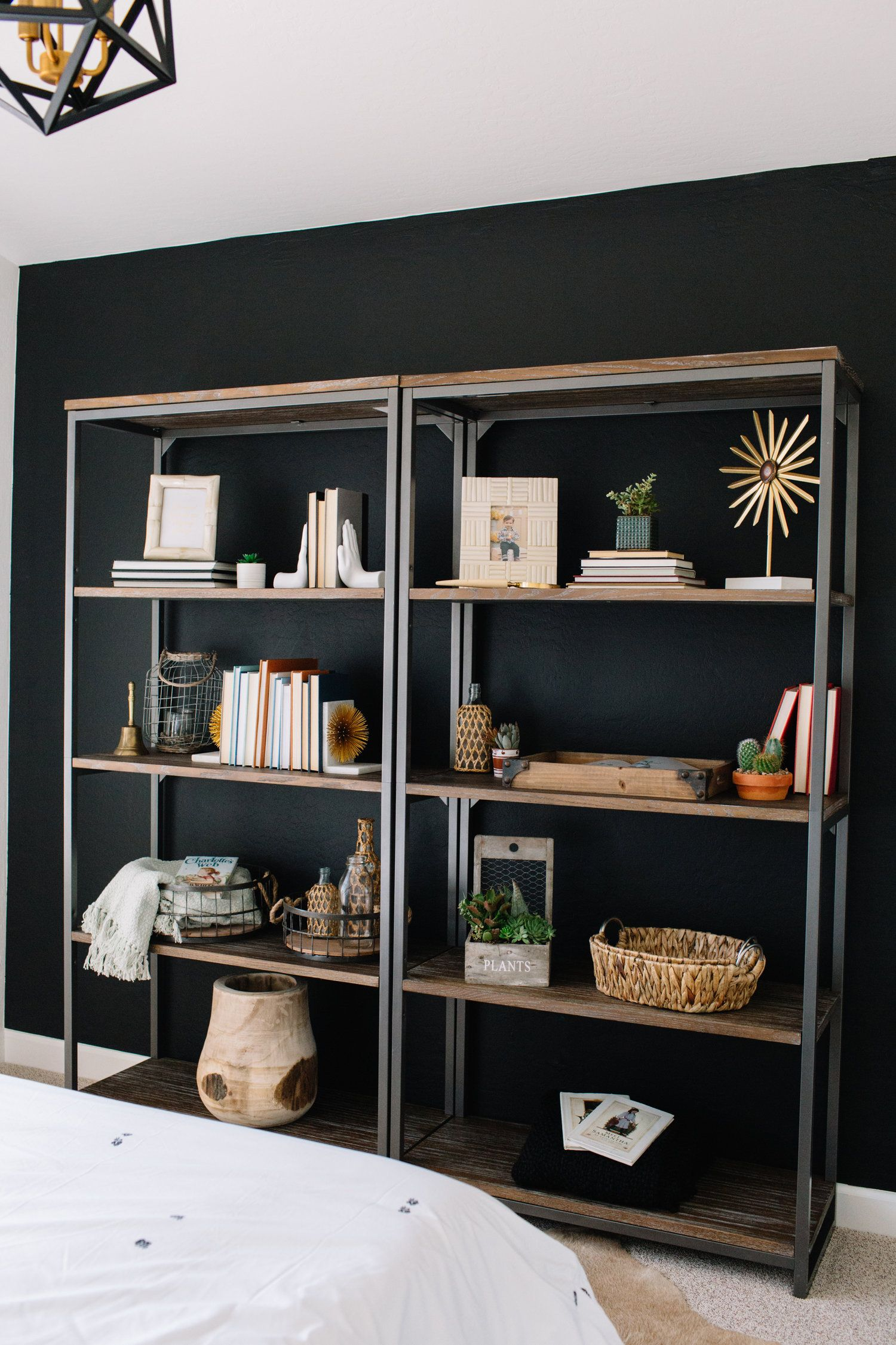 Black Walls With Wood And Steel Bookcase - Home Accents