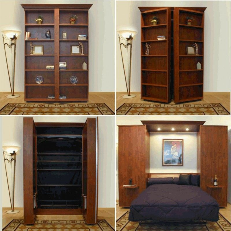 Bedroom Luxurious Wooden Murphy Bed With Cool Wooden Bookshelves Design And Cool Gold Standing
