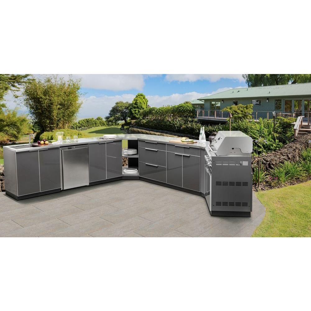 Newage Products Slate Gray 4 Piece 97 In W X 36 5 In H X 24 In D Outdoor Kitchen Cabinet Set With Covers 65276 The Home Depot Outdoor Kitchen Cabinets Modular Outdoor Kitchens Outdoor Kitchen