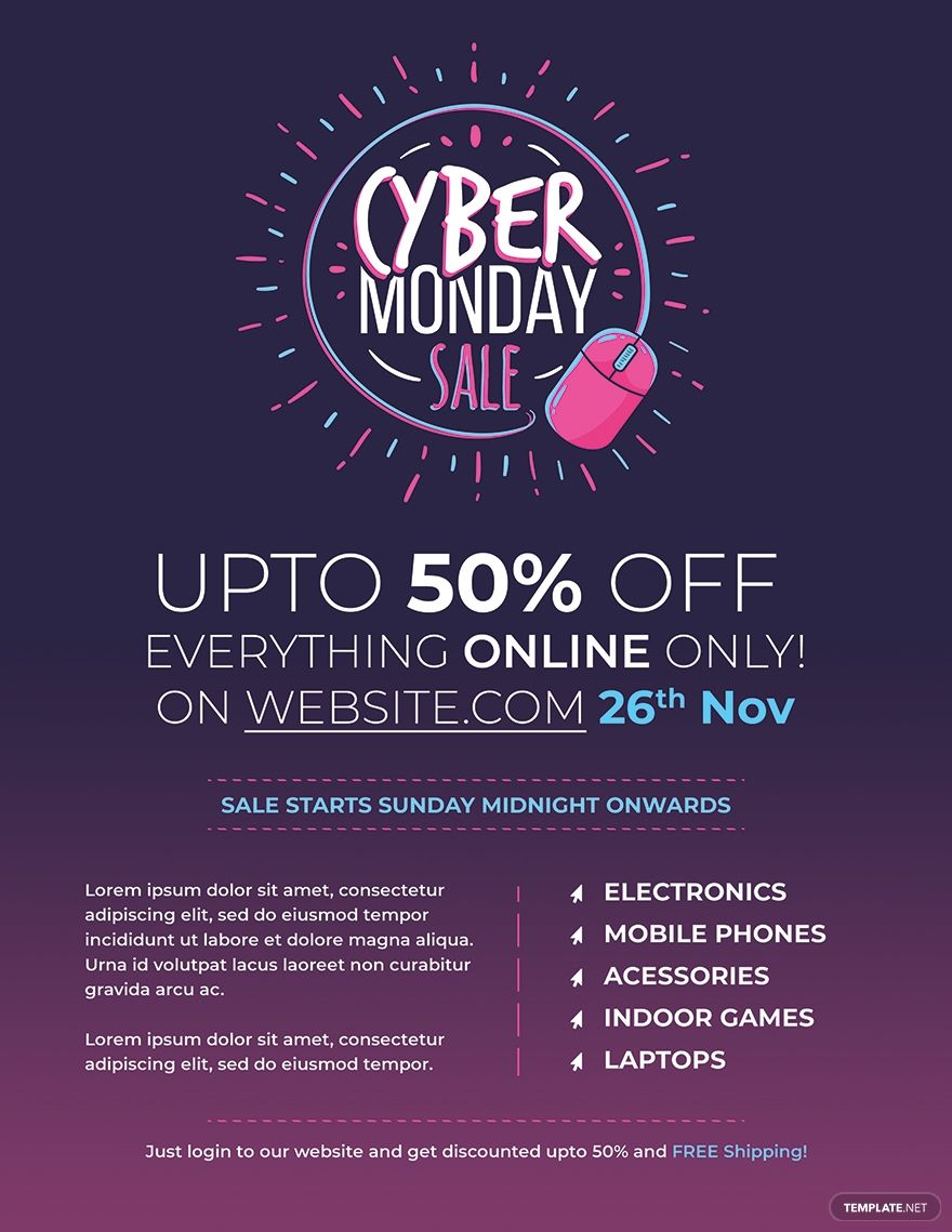 Free Cyber Monday Flyer Template Ad Sponsored Cyber Free Monday Template Flyer In 2020 Cyber Monday Flyer Flyer Template Cyber Monday