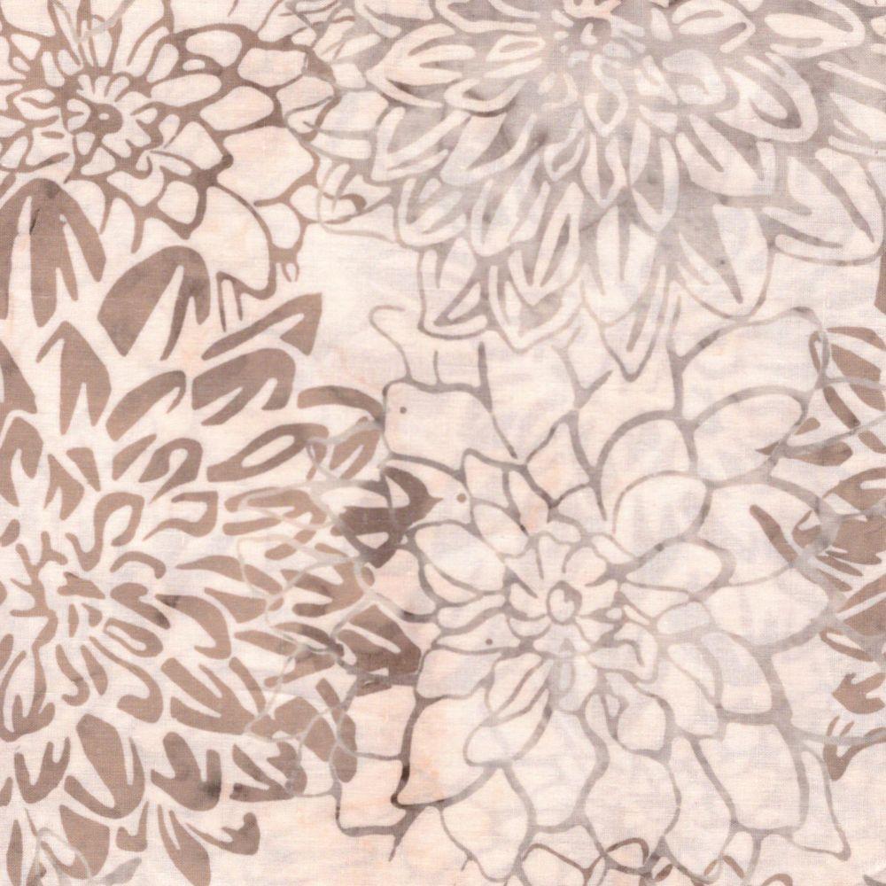 Cream Batik Large Flowers Patchwork Fabric