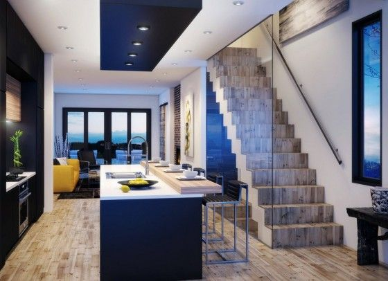 Dise o de moderna casa de dos pisos construida en terreno for Disenos de interiores de casas pequenas modernas