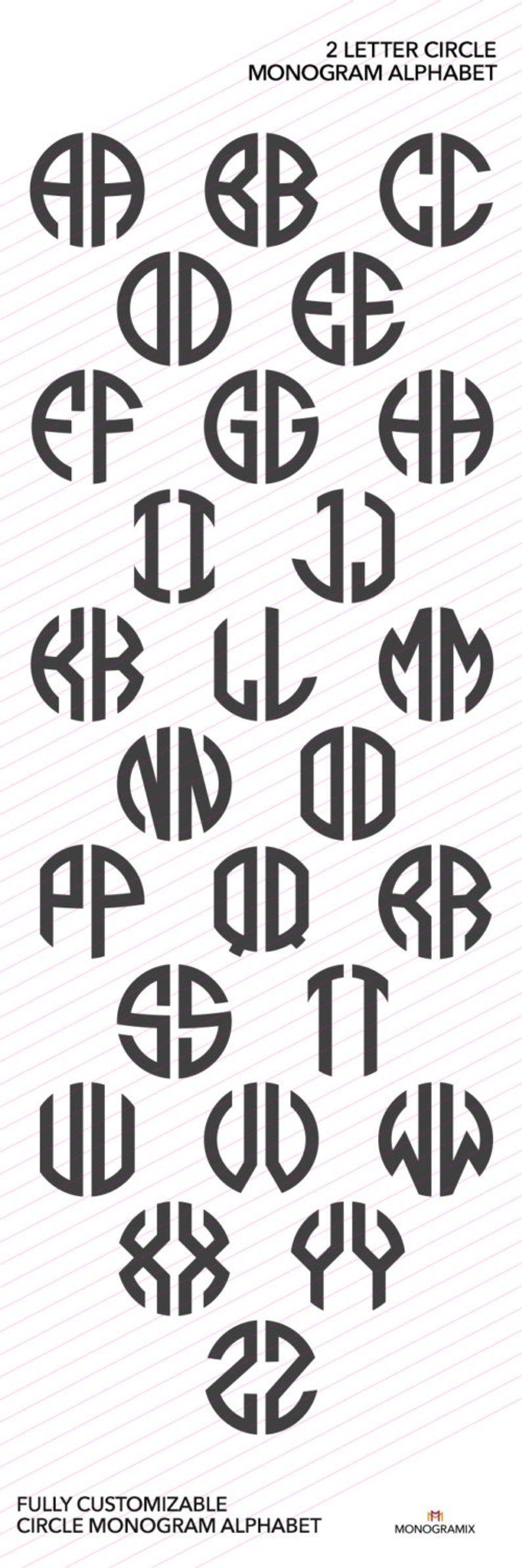 2 lettera SVG monogramma font SVG Personal Monogram font