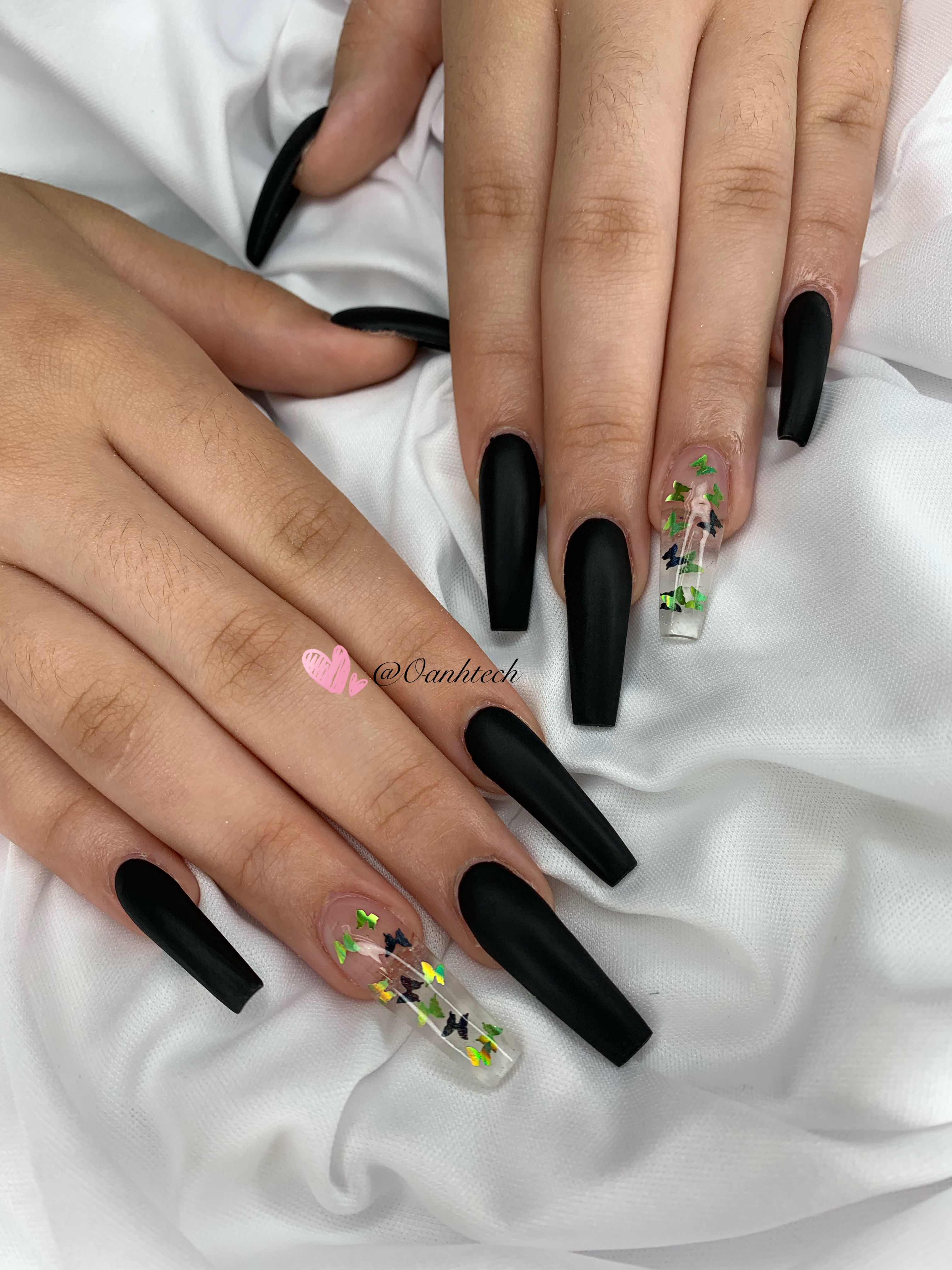 Black Matte Butterfly Nails Clear Acrylic Nails Black Acrylic Nails Butterfly Nail