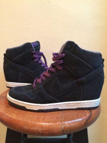 Size-6-Women-039-s-Nike-Dunk-Sky-High-Black-Wedge-Sneakers