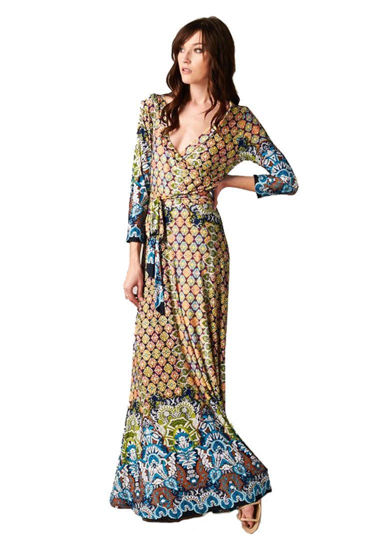 sleeve bohemian full length paris blue multicolor maxi dress