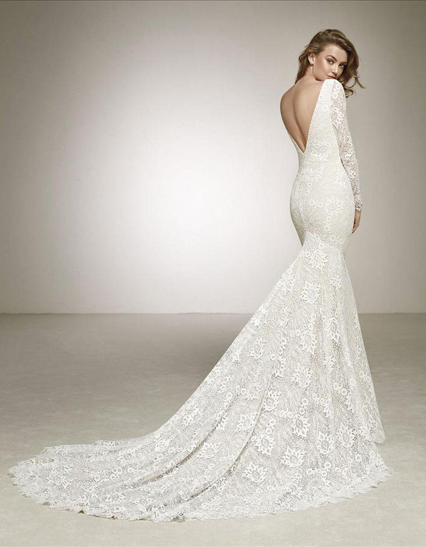 32a584d8cbb6 Dances by Pronovias - long sleeved lace wedding dress with plunging  V-neckline. www.raffaeleciuca.com.au MELB . AUS