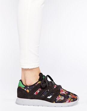 a3994e334d1a Enlarge Adidas ZX 500 Grey Floral Print Trainers