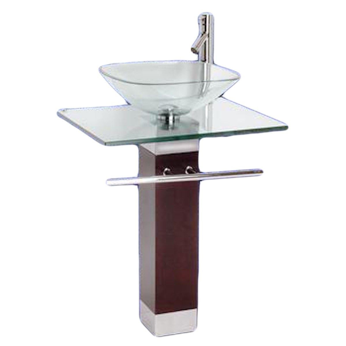 Item 10887 Tempered Glass Pedestal Sink And Faucet Combo With Images Glass Sink Pedestal Sink Modern Pedestal Sink