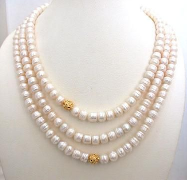 7c99375637 3 Line 8 mm Real Freshwater Pearl Necklace Online Gift Shop, Online Gifts,  India