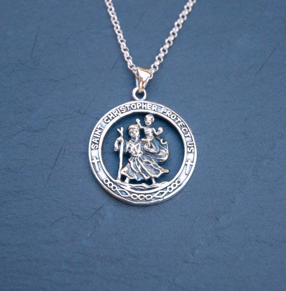 St christopher necklace sterling silver saint christopher st christopher necklace sterling silver saint christopher pendant safe travel land sea air mozeypictures Choice Image