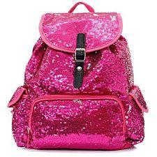 Hot Pink Glitter Sequin Drawstring Backpack