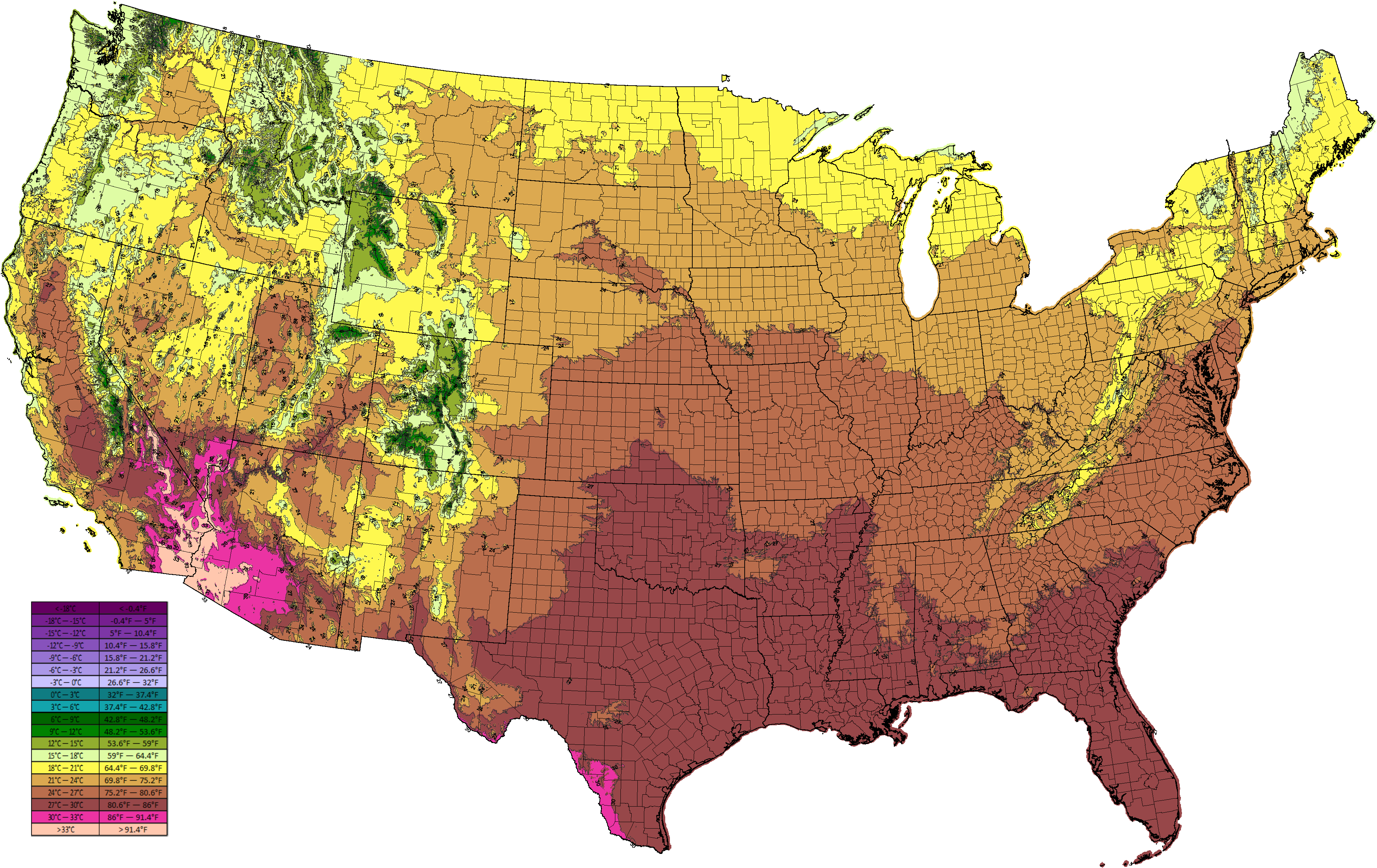 Average Tempature in the USA by county