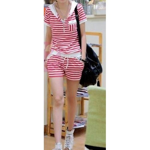 #Stripes Cotton Short Suit  Check out www.fashionscrapbook.com for more #road / #gym gear