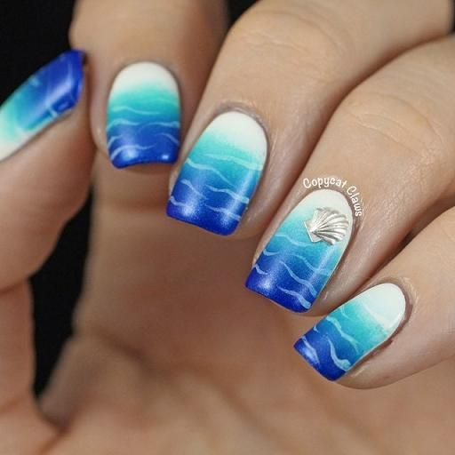 25 Ocean Nails You Must Have for the New Season - Beach Nails With Crab Nail Art Pinterest Nails, Nail Art And