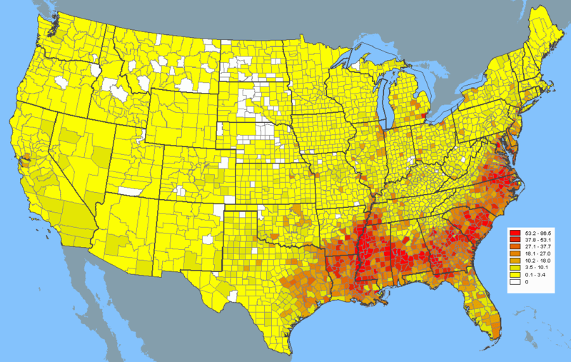 Usa Black Population Density Historical Maps Map Cartography