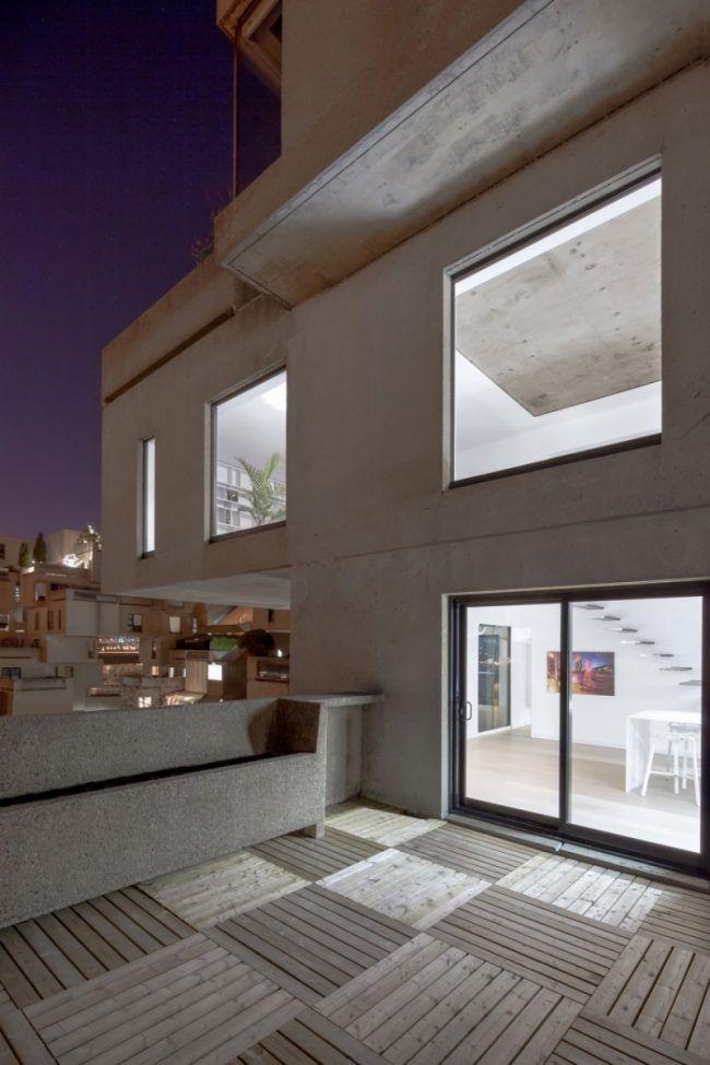 Ideen zur Raumgestaltung -betondecke-terrasse-holzfliesen-modern ...