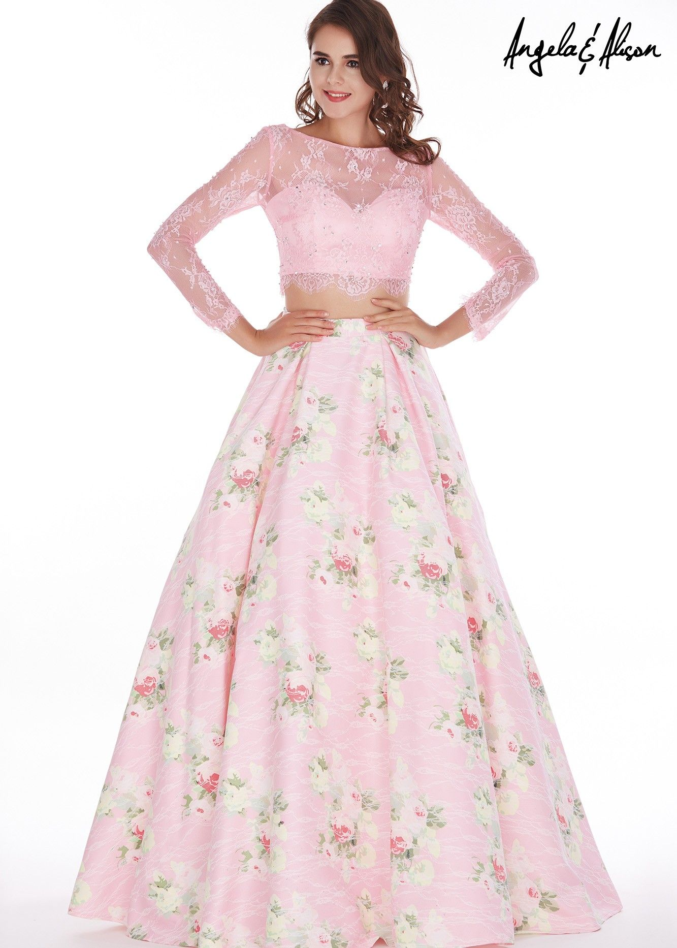 Angela u alison light pinkfloral two piece prom dress with