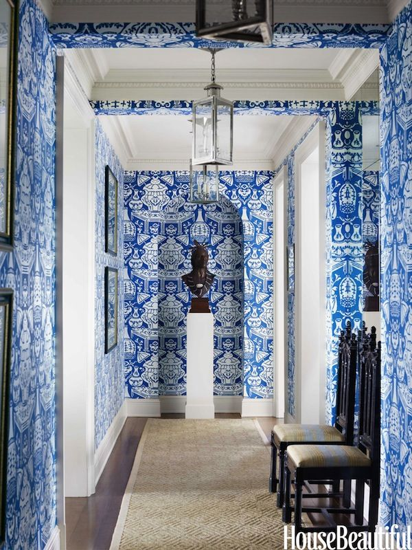 Trend Clarence House Vase Wallpaper In Hall Interior By Tom