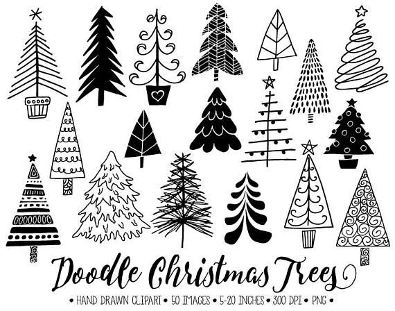 Doodle Christmas Tree Clip Art Hand Drawn Christmas Tree Illustrations Winter Clipart For Gift Tags Christmas Stamps Diy Cards Stickers Christmas Tree Clipart Christmas Tree Drawing Christmas Doodles