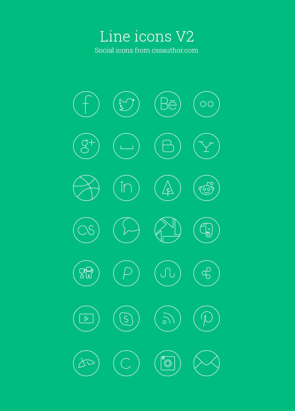 free social media line icon set › free line icons » css author, Powerpoint templates