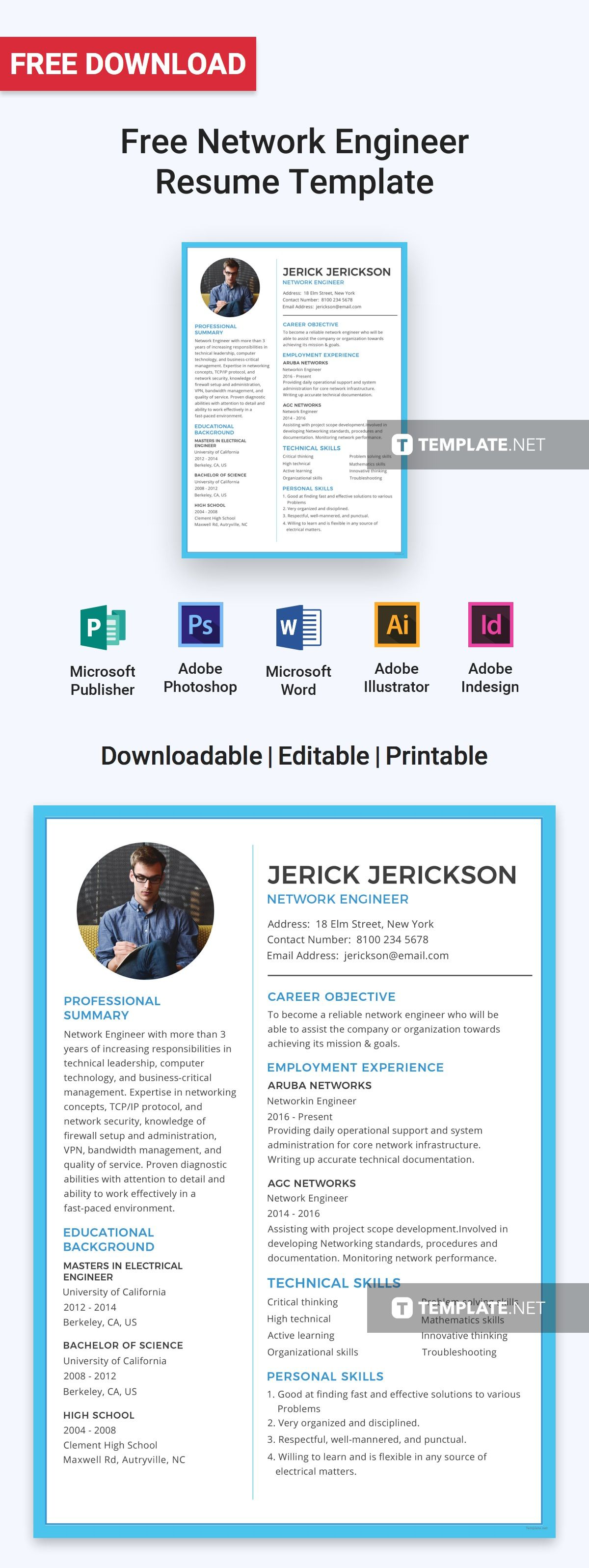 Free Basic Network Engineer Resume Cv Template Word Doc Psd Indesign Apple Mac Pages Illustrator Publisher Network Engineer Resume Design Template Resume