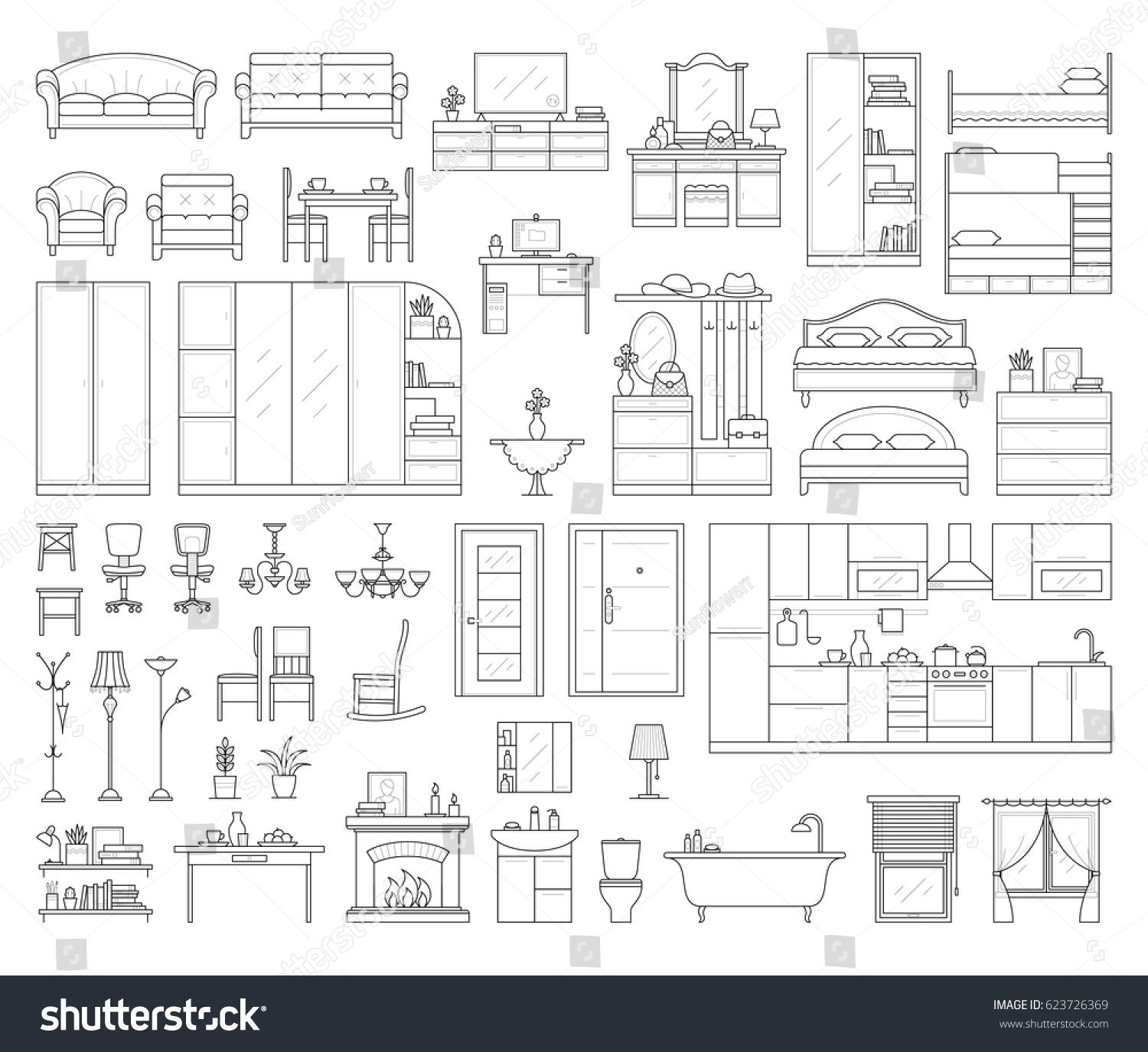 Vector Icons Set House Interior Furniture Stock Vector Royalty Free 623726369 In 2020 Furniture Design Sketches Interior Design Sketches Interior Design Drawings