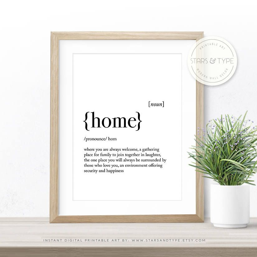 Home Dictionary Definition Meaning, Quote Art, PRINTABLE