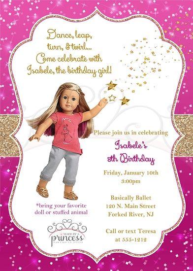 American Girl Isabelle Birthday Party Invitation American girls