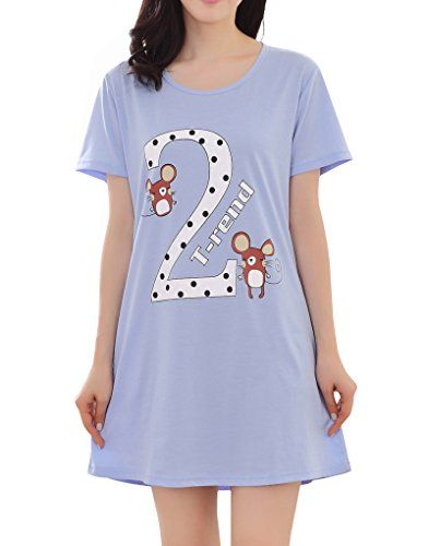 fd7d6b6f6b YUEXIN Big Girl s Cute Mice Printed Sleepwear Shirts Polka Dots Summer  Nightgown