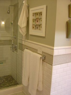 guest bath idea white subway tile for shower walls with penny round accent and bath