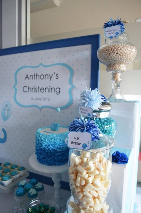 Blue elephant boy christening baptism party planning ideas for Baby christening decoration
