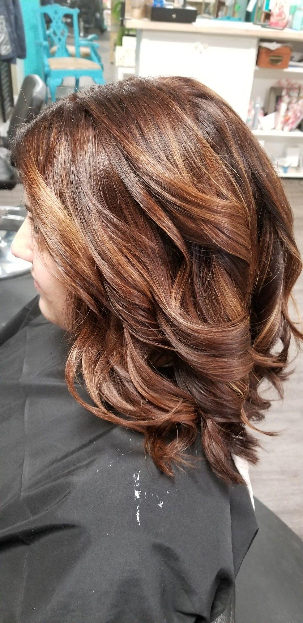 Chocolate Brown And Copper Color Melt Medium Length Hair Lose Curls Medium Length Hair Styles Curled Hairstyles For Medium Hair Medium Hair Styles