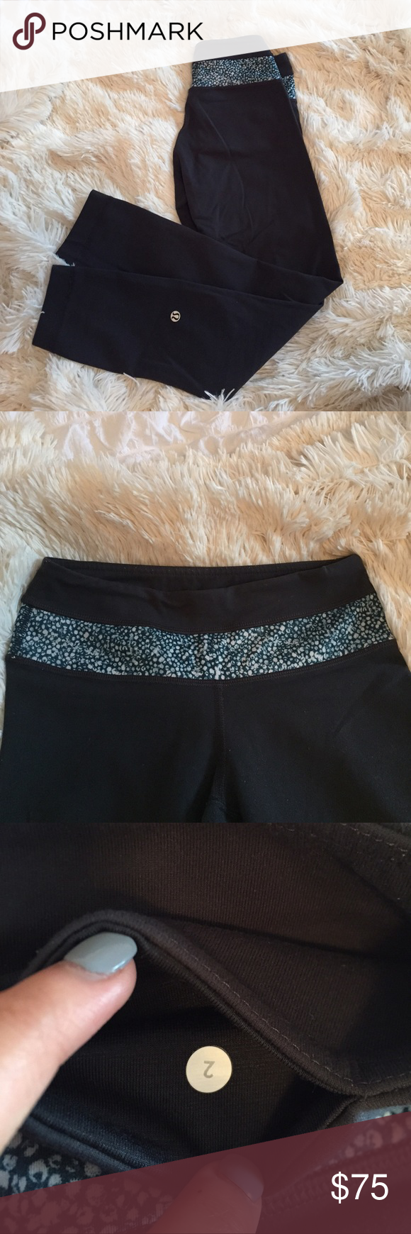 Lululemon high times leggings dark grey size 2. These are the Lululemon high times leggings in size 2 that are a dark grey color with blue detailing at the band. lululemon athletica Pants Leggings