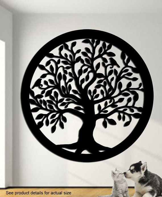 Tree of life with two birds wall art this tree of life measures 24 x 24 made from 14 gauge steel this is a super nice wall hanging suitable for