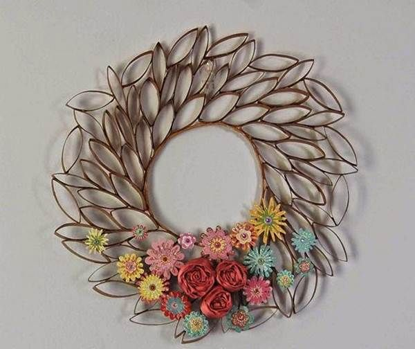 How to diy toilet paper roll flower wall art toilet Toilet paper roll centerpieces