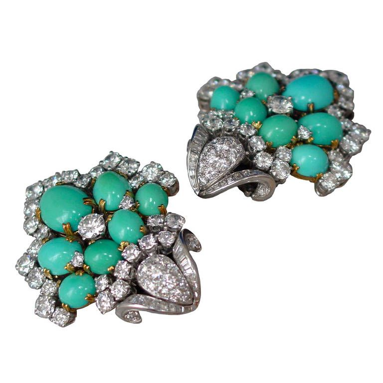 PERSIAN TURQUOISE AND DIAMOND EARRINGS~ 1950s Turquoise Bouquet Diamond Ear Clips |