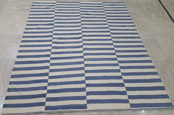 Blue And Beige Ivory Striped Kilim Rug Handmade