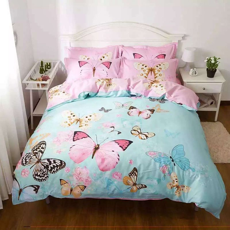 4 Pcs 100 Cotton 3d Red Butterfly Bedding Set Bird Fish Bed Linen Cat Car Duvet Cover Set Twin Full Qu Butterfly Bedding Butterfly Bedding Set Duvet Cover Sets