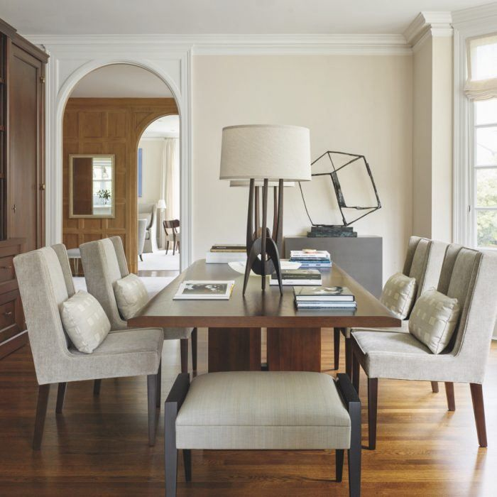 A formal dining room doubles as a